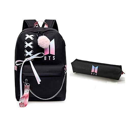 Mochila USB BTS Jimin Suga Jin Taehyung V Jungkook coreano casual mochila mochila mochila mochila mochila para computadora portátil bolsa de la escuela
