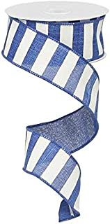 Royal Blue White Striped Fabric Burlap Wired Ribbon (1.5 Inches x 10 Yards) : RX9148WR