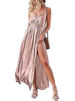BerryGo Women's Prom Deep V Neck Backless Split Maxi Formal Bridesmaid Dress Pink S