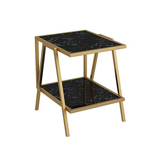 YNN Tavolino in Marmo Nordico Tavolino da Salotto Divano A 2 Livelli Tavolino in Metallo Dorato per Balcone Camera da Letto, 50 × 48 × 55 Cm(Color:Nero)