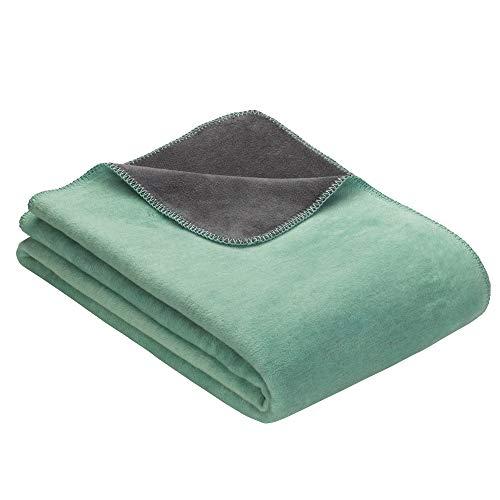 Ibena Kuscheldecke Dublin 2340 / Wendedecke mint/grau / Tagesdecke 150x200 cm / angenehm warm und besonders kuschelig weich