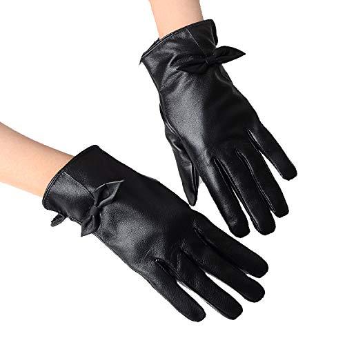 SBL Herbst Und Winter Schaffell-Touchscreen-Handschuhe, Lackhandschuhe Für Damen Und Samtige Warme Mode,Schwarz,A