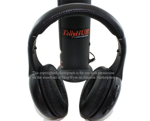 New TellyHUB Wireless Audio Headphone - Watching TV wirelessly, Listening to FM Radio or Music Played Back remotely; Includes a $15 Worth Stereo Adapter for Working with Your Smart Phone.