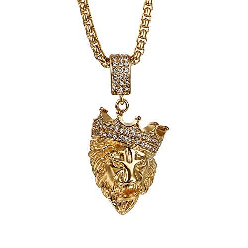 Oidea Halsketting voor heren, leeuw, met hanger, gouden koning, kroon, leeuw, kop, hanger, punk, rock, biker, roestvrij staal, zirkonia, hanger, gouden ketting, 56 cm