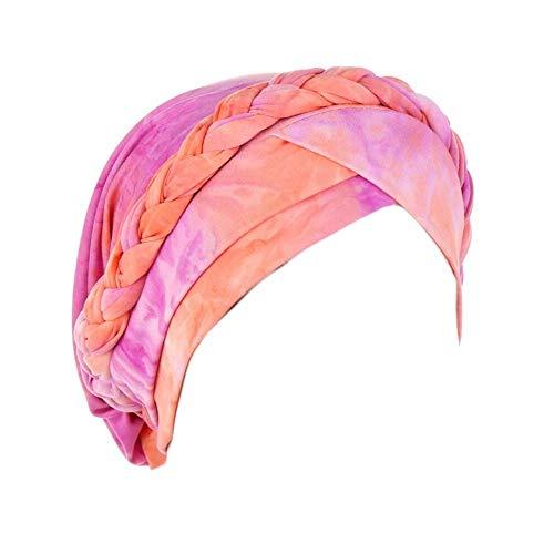 LAMUCH Bohemia pre-atado turbante sombrero mujeres trenzado trenzado cubierta del pelo abrigo 2020 mujer musulmana tie-dye impresión pérdida del cabello cáncer Chemo Cap