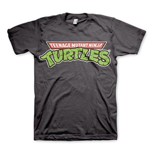 Herren Teenage Mutant Ninja Turtles-Klassiker-Logo Grau Retro-T-Shirt (Large)