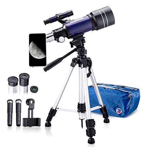 Teleskop Kinder, 70mm Teleskop Astronomisches für Kinder und Einsteiger, 15x-150x Refraktor Teleskop mit Aluminium Stativ Mondfilter und Adapter Pro für Handy, Blau