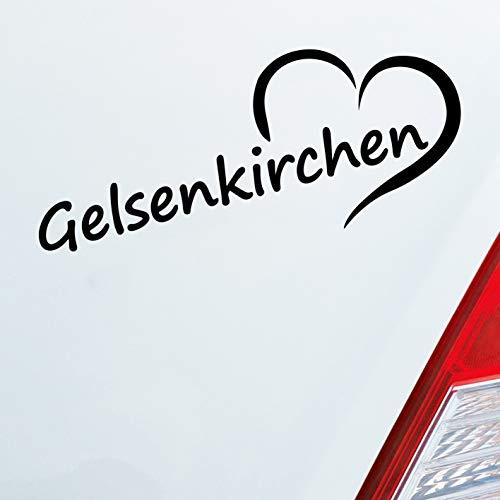 Auto Aufkleber in deiner Wunschfarbe Gelsenkirchen Schalke Herz Stadt City Liebe 19,5x8 cm Autoaufkleber Sticker