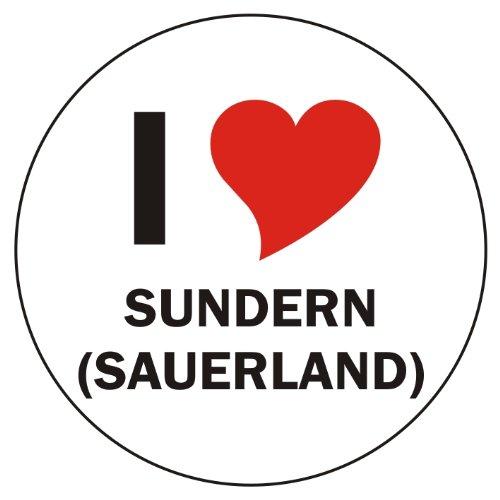 Aufkleber / Sticker / Autoaufkleber - I LOVE Sundern (Sauerland) - JDM / Die cut / OEM - Auto / Heckscheibe - aussenklebend, rund, Größe: 80mm