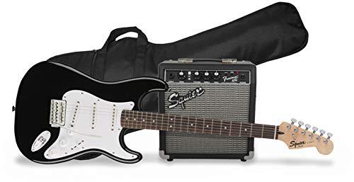 Fender Squier Stratocaster Guitar Pack with Squier Frontman 10G Amplifier, Black
