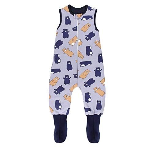TupTam Baby Winter Schlafsack mit Beinen und Füßen, Farbe: Bärchen Dunkelblau/Braun, Größe: 80-86