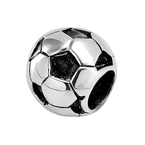 Fußball-Charm, 925er Sterlingsilber, Sport-Charm, Geburtstags-Charm für Pandora-Charm-Armbänder (Fußball)