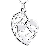 """DESIGN: """"Mutter umarmt Kind"""" Design in Herzform, das die Liebe der Mutter zum Kind zum Ausdruck bringt. Anhänger größe: 22 * 18 MM, Kettenlänge: 45 +3 cm, einstellbar. Passende Ohrringe: B07YB8J3CN MATERIAL: Aus hochwertigem 925 Sterling Silber mit W..."""