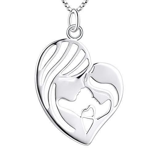 YL Mutter Tochter Halskette 925 Sterling Silber Mutter und Kind Liebe Herz Anhänger Halskette Geschenke für Mama (45 + 3 cm)