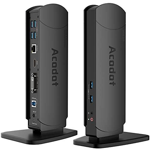 Docking Station, Acodot 13-in-1 USB 3.0 Universal Laptop Dockingstation 2 Monitore mit 6X USB 3.0, HDMI, VGA, DVI, Gigabit Ethernet, Audio-Ausgang/Eingang