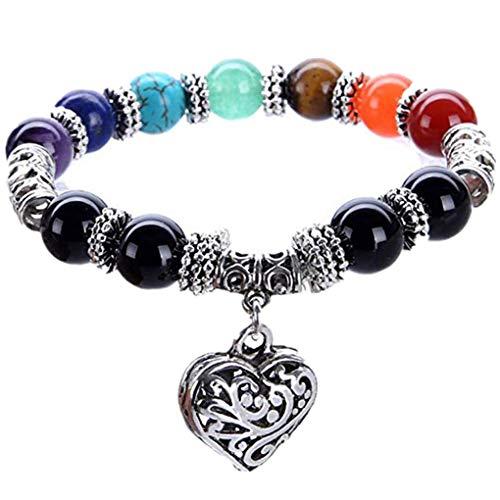 Skxinn 10 MM Perlen Yoga Balancing Reiki Healing Armband 7 Chakra Antique Silber Farbe Hollow Herz Armband mit Tasche für Frau Mädchen Männer
