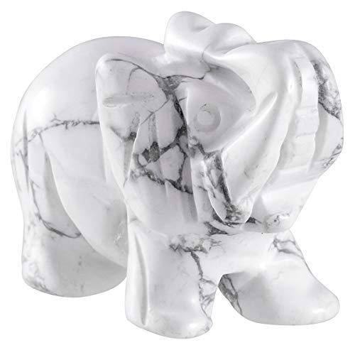 KYEYGWO - Figura de elefante de cristal con piedras preciosas, tallada a mano, escultura de elefante, amuleto de bolsillo, decoración de Reiki, Howlita blanca turquesa