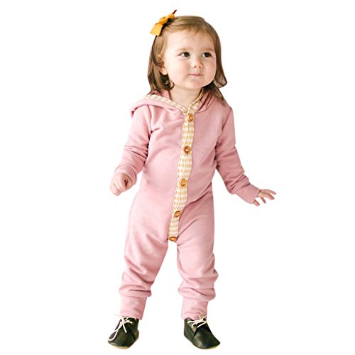 Kobay Neugeborenen Baby Jungen Mädchen Langarm Erwärmung Overall Strampler Kinder langärmelige einfarbige Nähte gestreiften Kapuzenoverall (0-3Y)
