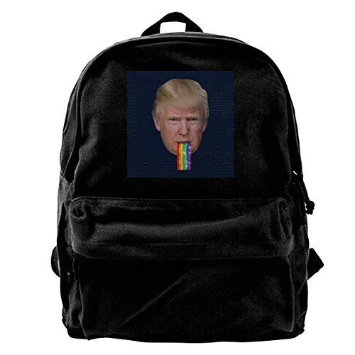 SAGDHFH Sac à dos en toile Donald Trump Puking Rainbow Snapchat Filtre, sac à dos de gym, randonnée, ordinateur portable, sac à bandoulière pour homme et femme