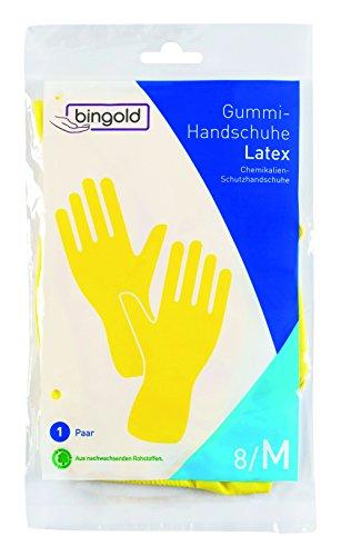 bingold 504311per guanti, in lattice, baumwollbeflockt, Vestibilità Anatomica, CE Cat III, 300mm, taglia M, Giallo (1paio)