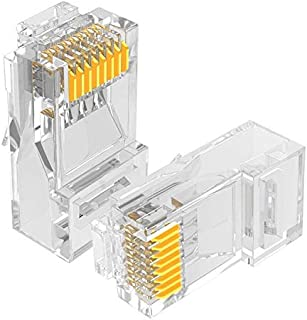 AMPCOM CAT5e RJ45 Modular Plug,50μ Gold-Plated Modular Plug Connector,8P8C Crimp End for Ethernet Cable,Bulk Ethernet Cabl...