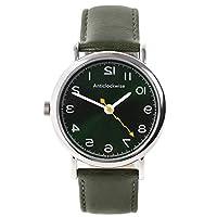 [アンチクロックワイズ]逆回転腕時計 日本製クォーツ モスグリーン本革ベルト(グリーン)
