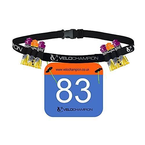 VeloChampion Running, Triathlon, Marathon Number Belt. No pins Needed. Adjustable & 2 Styles Available (Gel Holder Run Belt)