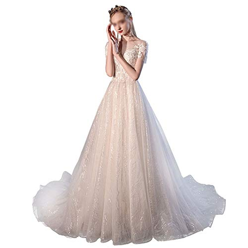 Hochzeitskleid Brautkleider Brautkleides Rolliersternenhimmel Wald Atmosphäre Super-feenhafte Fantasie-Dame Brautkleid Brautkleid (Color : Light Champagne, Size : S)
