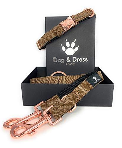 Dog & Dress by Nacy Kena Hundehalsband Und Leine Set, Rosegold, Verstellbar,Hundeleine, 2m, 3 Ringe, Karabiner, Große Kleine Hunde, Tweed Nylon, Geschenk Hund (S/M 31-40 cm, Hellbraun)