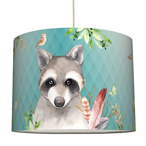 Anna Wand Hängelampe Friendly Forest/Mint – Lampenschirm für Kinder/Baby Lampe mit Waldtieren – Sanftes Kinderzimmer Licht Mädchen & Junge – ø 40 x 34 cm