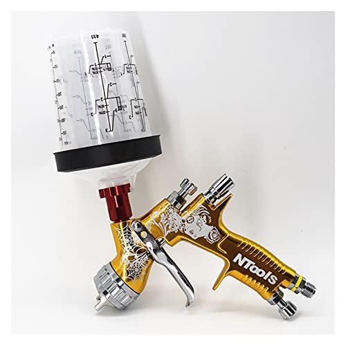 Pistola de Pintura Pistola de pulverización con Adaptador 400CC PPS Pistola de pulverización de Aire con Pistola con Taza de Mezcla de Pintura de Lavado sin Lavado