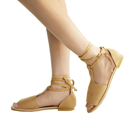 Gyoume Women Shoes Women Rome Flat Shoes Sandals Low Flat Flip Flops Beach Sandals Bohemia Shoes (US:6, Brown)