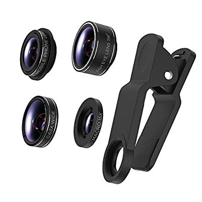 TURATA iPhone Lens 4 in 1 Lens Kits, 198°Fish eye + 0.63X Wide Angle + 15X Macro + CPL Lens , HD Clip-on Lens Kits for iPhone 8, 7, 6s, 6, 6 plus, 6s plus, 5s, Samsung Most Smartphones