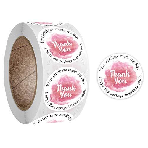 500 piezas/rollo redondo de agradecimiento, fiesta de boda, hecho a mano, álbum de recortes, embalaje, sello de etiquetas, para decoración de sobres, para hornear