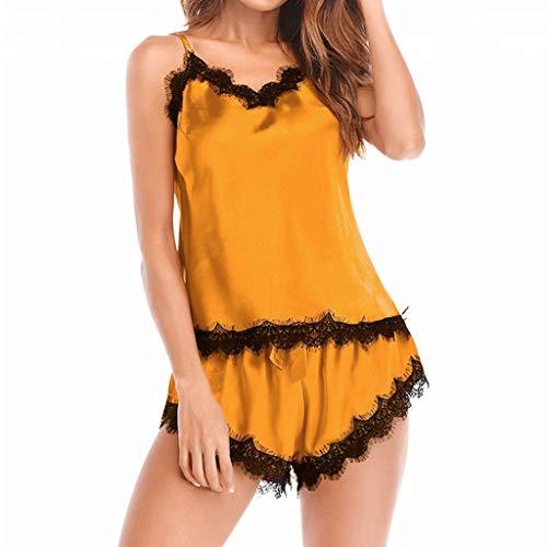Camisón Mujer Verano Lencería Pijama de Satén Ropa Interior Mujer Sexy Conjuntos Encaje Picardias Corto Lencería Camisones de Dormir Push up riou
