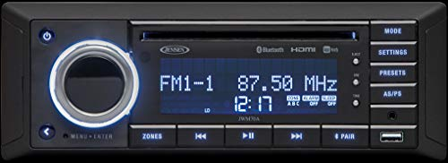 Jensen JWM70A Slimline DVD USB AUX HDMI App Ready Bluetooth Wallmount Stereo, 3-Speaker Zone / 8 Speakers Output, Plays: CD, CD-R, CD-RW, DVD, DVD+RW, DVD-RW, DVD-Video, MPEG-4, VCD, JPEG, MP3, WMA