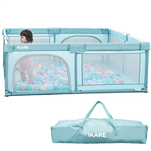 IKARE Baby Playpen, Extra Large Playard, Indoor n Outdoor Kid Activity Center Sturdy Safety Play Yard W/Portable Carry Bag, Super Soft Breathable Mesh, Side Zipper Design, Fence for Infant Toddler