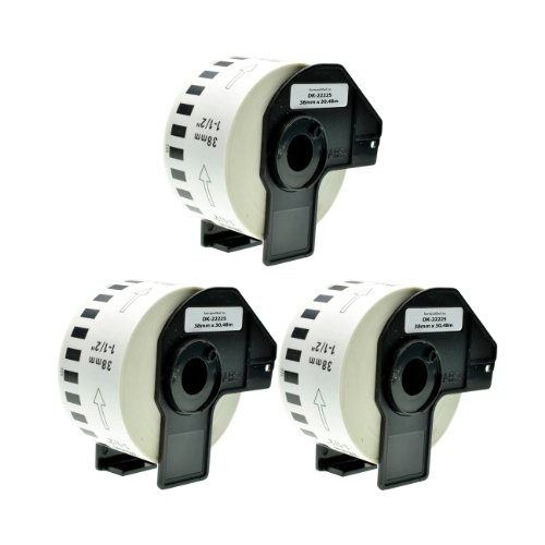 Logic-Seek 3X Endlos-Etikett kompatibel für Brother DK22225 38mm x 30,48m P-Touch QL-1050 1060N 500 550 560 570 580 700 500 A BS BW 560 VP YX 580N 650TD 710W 720NW