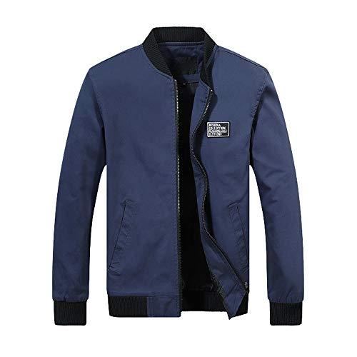Skxinn Herren Jacke Übergangsjacke Kunstleder Stehkragen Parka Jacke WindbreakerMantel Jacket Coat Gr M-6XL(Marine,X-Large)