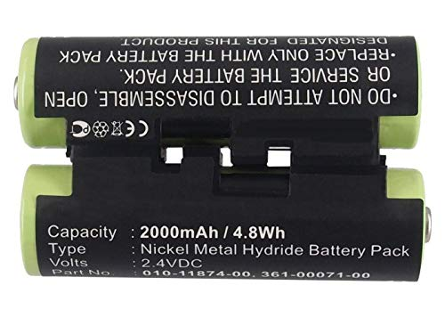 Synergy Digital GPS Battery, Compatible with Garmin PSMAP 64 GPS, (Ni-MH, 2.4V, 2000 mAh) Ultra High Capacity, Replacement for Garmin 010-11874-00 Battery