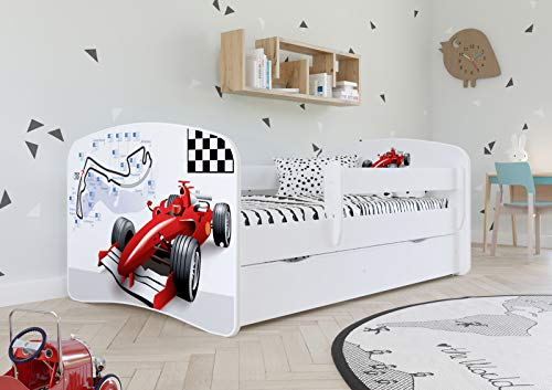 White Toddler Bed with Safety Rail Included 70x140 80x160 80x180 cm Kids Bed with Fall Protection, Removable Drawer and Slatted Base - For Boys and Girls - 160x80 - without Mattress