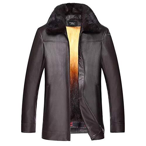 SCHSA Uomo in Pelle di Montone in Pelle Giacca Pelle Superare l'inverno Caldo Cappotto,Marrone,L