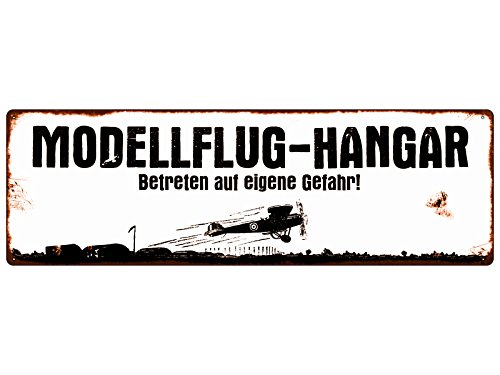 Interluxe METALLSCHILD Shabby Vintage Blechschild MODELLFLUG-Hangar Modellbau Club Modellflieger RC-Pilot Geschenk Dekoration