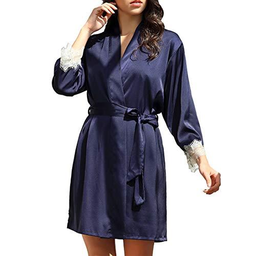 YJNH Damen Lange Ärmel Morgenmantel Bademantel Satin Spitze Color Matching Sexy Kimono Robe mit Gürtel Nachthemd für Braut Nachtwäsche L
