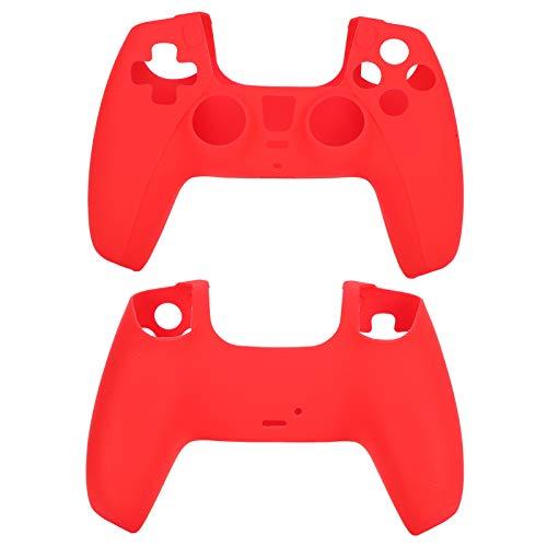 ASHATA Funda de Piel de Silicona de 2 Piezas para Sony PS5, Controlador Antideslizante, protección de Consola de Juegos, empuñadura de Mando para PS5(Rojo)