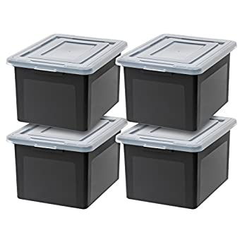 IRIS USA Letter & Legal Size Plastic Storage Bin Tote Organizing File Box with Durable and Secure Latching Lid Stackable and Nestable 4 Pack Black