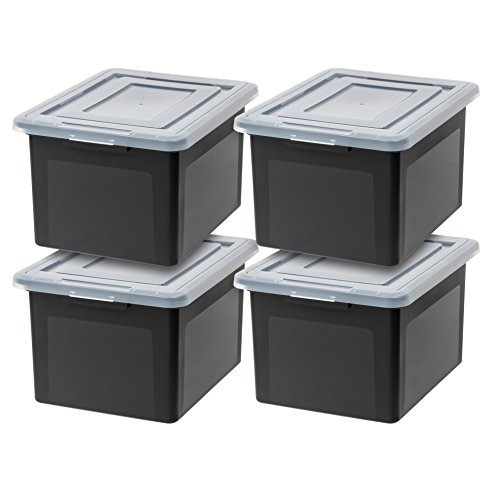 IRIS USA Letter & Legal Size Plastic Storage Bin Tote Organizing File Box with Durable and Secure Latching Lid, Stackable and Nestable, 4 Pack, Black