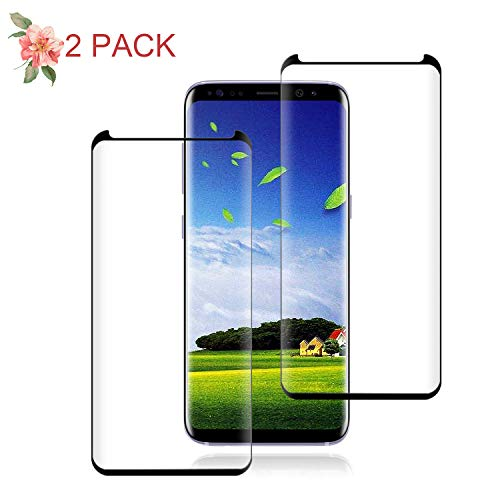 Galaxy S9 Black Screen Protector,[2-Pack] [9H Hardness] [Anti-Scratches] [Anti-Fingerprint] Tempered Glass Screen Protector Film Compatible with Samsung Galaxy S9.