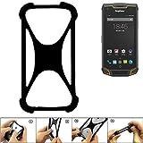 K-S-Trade Handyhülle für Ruggear RG740 Schutz Hülle Silikon Bumper Cover Case Silikoncase TPU Softcase Schutzhülle Smartphone Stoßschutz, schwarz (1x)