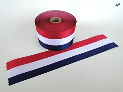 """4"""" Wide RED/WHITE/BLUE Ceremonial Ribbon for Grand Openings/Re-Openings and Ribbon Cutting Ceremonies"""